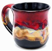Studio Art Pottery Ceramic Coffee Mug Cup Red Brown Drip Glaze over Black 14 oz