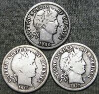 1900-S +1913-S +1915-S Barber Dimes Silver  --- NICE LOT --- #F177