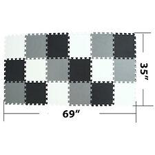 Children Puzzle mat Play mat Squares Foam Playmat Tiles Gray White Black