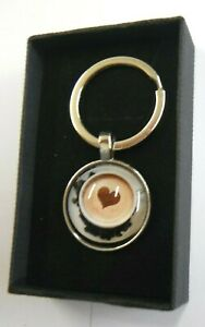 Cappuccino Coffee Barista Love Heart Keyring Gift Boxed