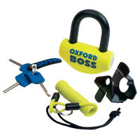 Oxford Boss SRA Approved 14MM Motorcycle Disc Lock Yellow Reminder Cable OF44