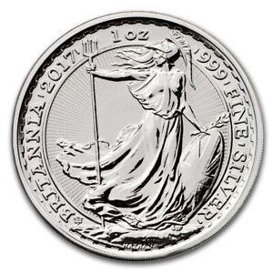 2017 Great Britain 1 oz Silver Britannia 20th Anniversary BU in Capsule