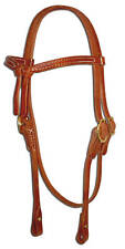 Western leather knotted browband bridle headstall screw ends USA custom H203