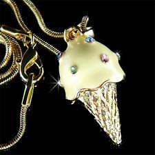 w Swarovski Crystal ~Hawaii 3D ICE CREAM CONE~ charm Pendant Chain Necklace Xmas