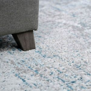 Grey Blue Textured Rugs Varied Pile Velvety Light Metallic Shimmer Carpet Rug UK