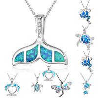 1PC Blue Opal Sea Turtle Cutout AnimalPendant Necklace Charm Jewelry Fashion