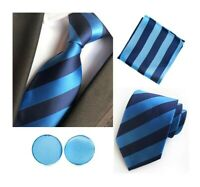 Tie Pocket Square Cufflinks Blue Navy Stripe Set Individual 100% Silk Wedding
