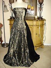 NWT Designer Black & Gold Floral Party/Prom/Formal/ Dress Velvet Low Price 2