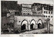 Siena: Fontebranda, Nobile Contrada dell'Oca. Stampa Antica + Passepartout. 1891