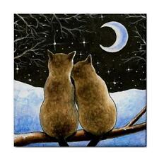 Cat 584 Siamese Winter Large Ceramic Tile 6x6 Made USA art LDumas