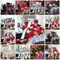 3D Effect 4 Piece Printed Duvet Quilt Cover Complete Bedding Set