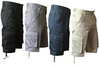 MENS PLAIN 5 POCKETS SHORTS COTTON CARGO COMBAT SUMMER HOLIDAY PANTS NEW 32-50