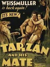 MOVIE FILM TARZAN coincidente Jane WEISSMULLER JUNGLE LION art print poster bb7602