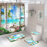 Seaside Bathroom Rug Set Shower Curtain Bath Mat Non-Slip Toilet Lid Cover