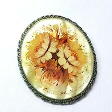 Vintage Russian Hand-Painted Signed Fedoskino Mother of Pearl Brooch Pin