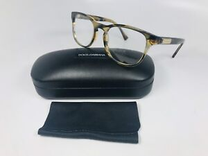 New Dolce Gabbana DG 3260 3063 Brown Striped Eyeglasses 52mm with Case & Cloth