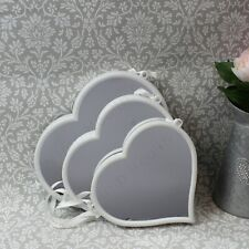 White Heart Hanging Mirrors - Set of 3 Assorted Sizes. Lovely Decorative Items.