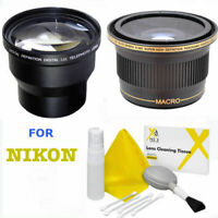 52MM 3.6x TELEPHOTO ZOOM LENS + X38 WIDE ANGLE MACRO LENS FOR NIKON D3000 D3100