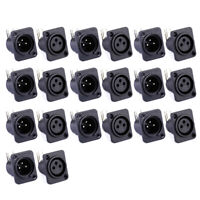 10pcs XLR 3pin Female Male Panel Mount Chassis PCB Plug Socket Connector Black