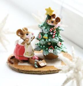 Wee Forest Folk Christmas Figurine M-240 - Scamper Raising Cane
