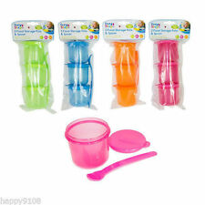 Pack of 3 First Steps Baby Toddler Food Storage Pots Lids with Weaning Spoon