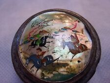 Antique Hand Tooled & Painted Persian Silver Plated Mother of Pearl Snuff Box