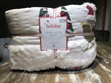 Pottery Barn Heritage Merry Santa Full Queen Quilt Christmas Heirloom New