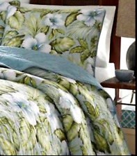 Tommy Bahama Alba Botanical Floral Reversible Tropical Blue Twin Quilt/Sham Set