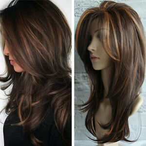 Women Elegant Synthetic Wavy Long Wigs Smooth Natural Golden Brown Hair