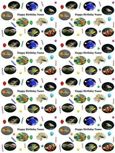 Tropical Fish Personalised Birthday Wrapping Paper ADD NAME CHOOSE BACKGROUND