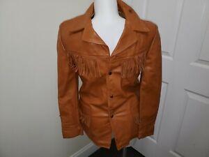 Schott Western Tan Brown Fringe Leather Jacket Coat Men's 40 M L Vintage