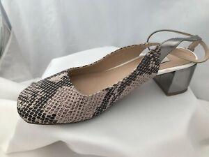 Clarks Beige Snake Print Block Heel Ankle Strap Shoes Size 6