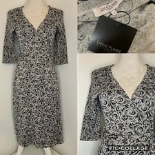 GREAT PLAINS Silver Paisley Print Think Knit Sparkle Wrap Jumper Dress Size S