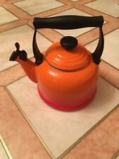 Le Creuset Traditional Whistling Kettle Volcanic Orange Top Stove Aga Cooker