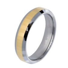 6mm Gold Plated Facet Bevel Edge Tungsten Jewelry Men's Jewelry Wedding Ring