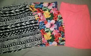 Victorias Secret Pink Bodycon Skirt Lot XS X Small Neon Coral Floral aztec black