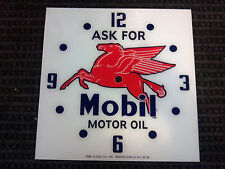 "15"" MOBIL PEGASUS GASOLINE OIL GAS SQUARE GLASS clock FACE FOR PAM"