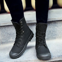 Men's Canvas Ankle Boots High Top Shoes Breathable Lace Up Sneakers New