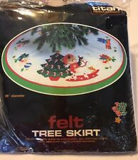"Vtg 86 TITAN Teddy Beddy Bear Horse Felt 36"" Xmas Tree Skirt Needlecraft Kit"