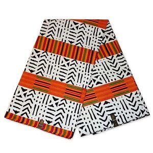 African Kente / Bogolan fabric White orange print (Traditional Mali print)