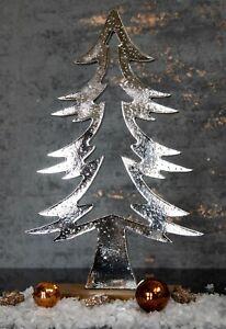 Deko Skulptur Tannenbaum 30cm Holzsockel Tischdeko Weihnachtsdeko Metall