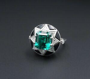 Platinum 4 carat Emerald Diamond Onyx Star Halo Ring Size 7 RG2957