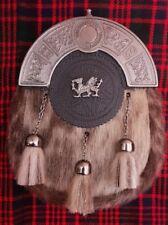 Scottish Kilt sporran Formal Seal Skin with Welsh Dragon Badge/kilt sporran/kilt
