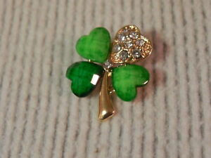 Shamrock Pin Four Leaf Clover Brooch Irish Green clear rhinestone St Patricks