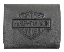 Harley-Davidson Men's Embossed B&S Logo Leather Tri-Fold Wallet XML3571-BLK