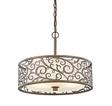 Home Decorators Collection Carousel 3-Light Burnished Gold Pendant Frosted Glass