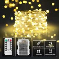 Lichterkette Drahtlichterkette 100LED 8 Modi Mit Fernbedienung Timer Warmweiß