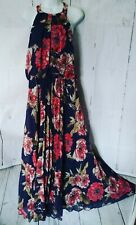 Bisou Dress 14 Beautiful Silky Navy Floral Maxi Boho Hippie Sundress Women's L