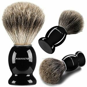 Perfecto 100% Pure Badger Shaving Brush - Black Handle - Engineered Beauty Care