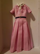 *BARBIE* PINK PLEATED DRESS W/  WHITE COLLAR & BLACK BELT KATHERINE JOHNSON